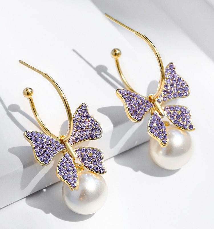 優美紫蝶水晶擬珍珠耳環