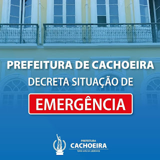 Imagem, decreto de situação de emergência  em Cachoeira Bahia
