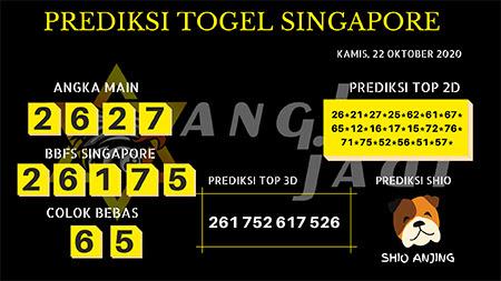 Prediksi Angka Jitu SGP Kamis 22 Oktober 2020