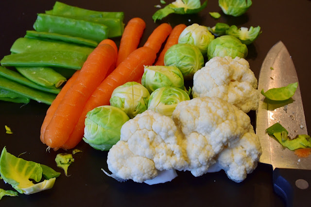 Celery, Carrots, Brussels Sprouts, and Cauliflower Florets