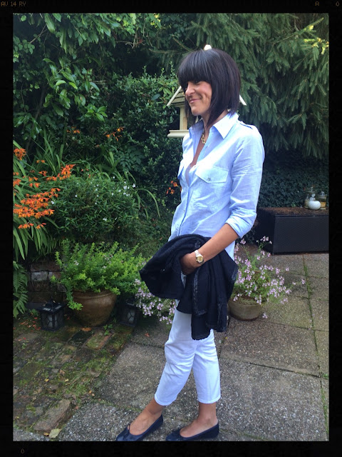 My Midlife Fashion, Zara Striped Studio Shirt, White Jeans, Cigarette Jeans, Boucle Jacket, Ballet pumps, ballet shoes
