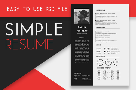 Free Resume Template PSD + 350 Icons