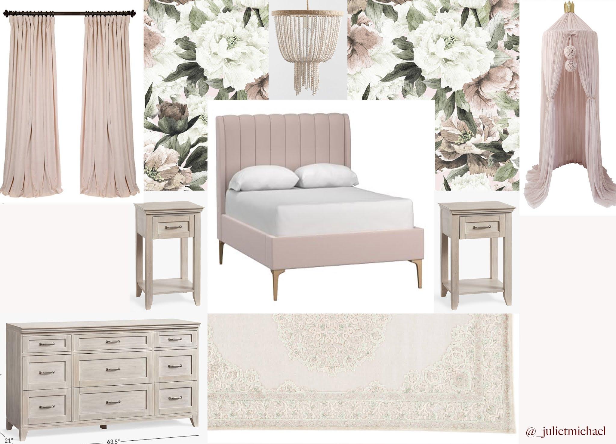 blush and gold big girl room design