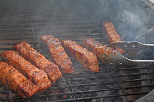 Country-style boneless pork ribs on a kamado grill.