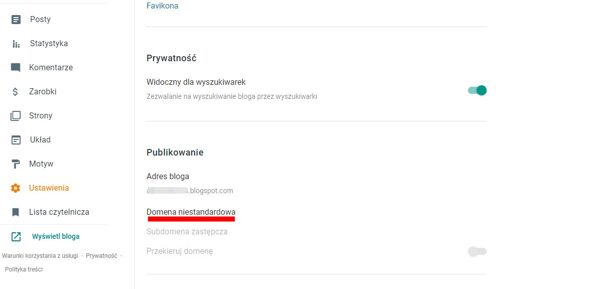 Jak przejść na własną domenę z nowego bloggera?