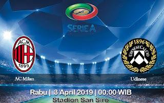 Prediksi AC Milan vs Udinese 3 April 2019