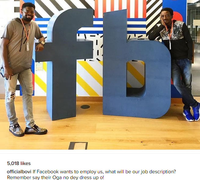 See the funny question Basketmouth & Bovi popped as they visited Facebook HQ