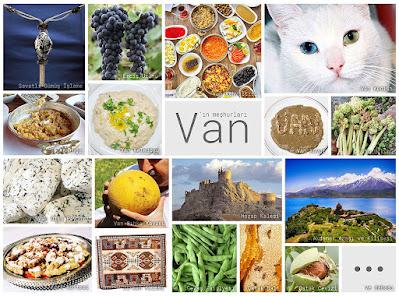Van'ın meşhur şeylerini gösteren resimlerden oluşan kolaj