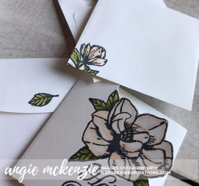 Mini Magnolia Blooms for Kylie's Demonstrator Training Blog Hop - July 2019 | 3x3 Magnolia Bloom happy birthday card with envelopes | Nature's INKspirations by Angie McKenzie