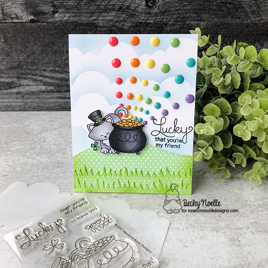 Lucky that you're my friend by Becky features Newton's Pot of Gold, Clouds, and Land Borders by Newton's Nook Designs; #newtonsnook