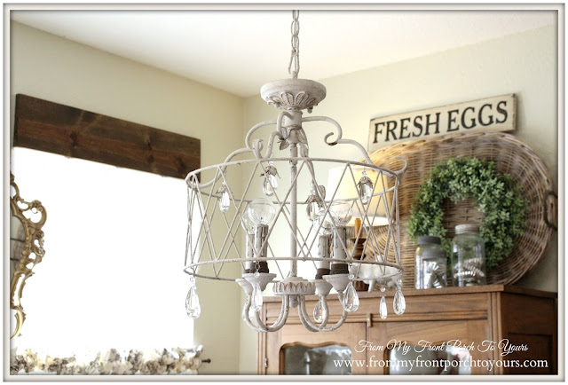 French Famrhouse-Breakfast Nook- Cage Chandleier-French Chandelier-From My Front Porch To Yours