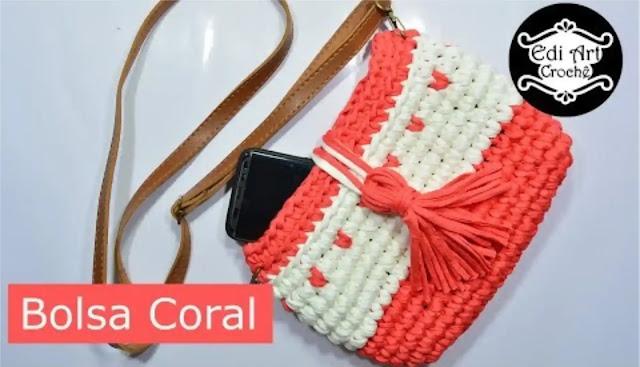 Tutorial paso a paso de bolsa coral en trapillo a crochet