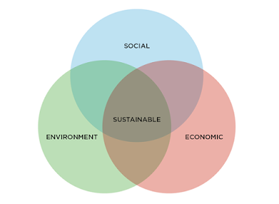 3 circles labeled social, environment, economic. The area where all three circles overlap labeled sustainable.