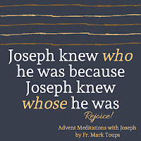 "Quote from book on dark background that reads ""Joseph knew who he was because he knew whose he was"""