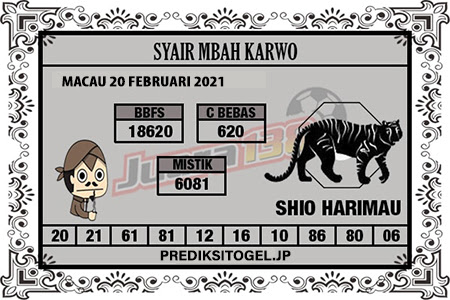 Syair Mbah Karwo Togel Macau Sabtu, 20 Februari 2021