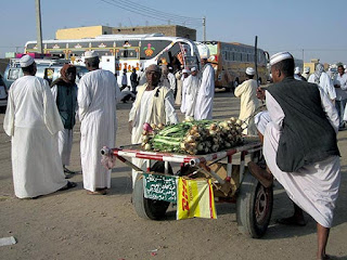 Onions for sale at the bus station in Dongola Sudan.