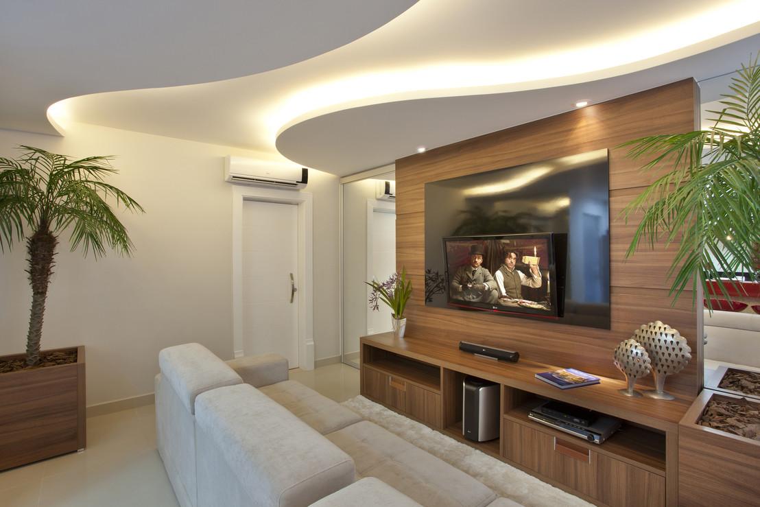 Construindo Minha Casa Clean Decora O Salas Integradas Pequenas  -> Vasos Na Sala De Tv