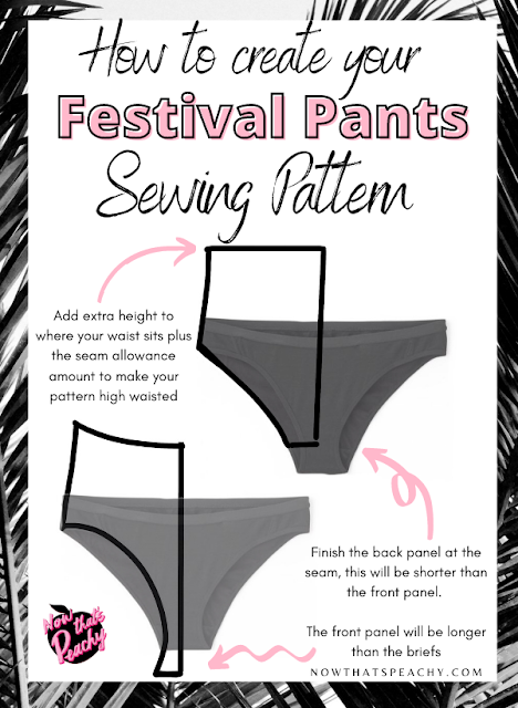 Learn how to sew brief bikini festival fashion pants with pattern making tutorial