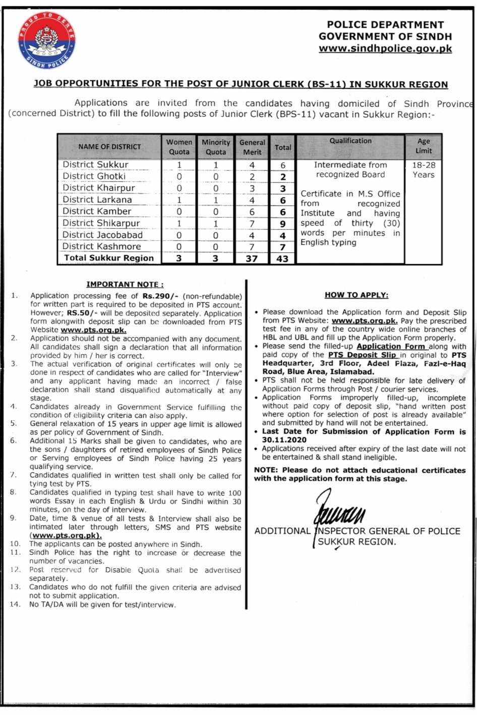 Sukkur Region Sindh Police Junior Clerks (BS-11) Jobs 2020 Via PTS Apply Online 43 Positions