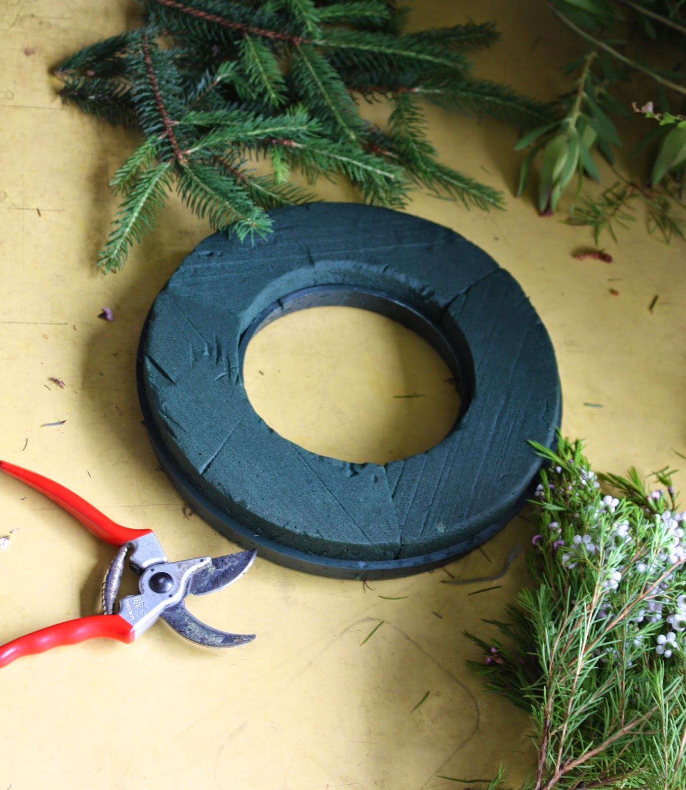 How to make a fresh christmas wreath - For This Simple Fresh Wreath I Start With A 12 Floral Foam Wreath They Are Available From Floral Supplies Stores Usually Under 10