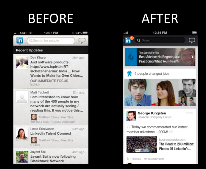 LinkedIn updated Mobile version of Android and Iphone to make ads on