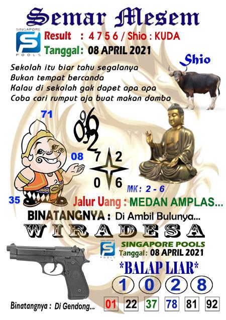 Syair Semar Mesem SGP Kamis 08-Apr-2021