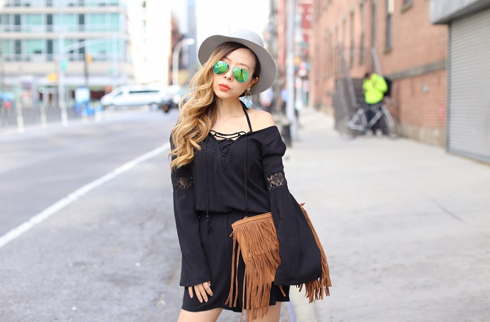 Target Womens Bell Sleeve Romper Mossimo Supply Co, Womens Push Up Lace Midi Bikini Top Xhilaration, fringe clutch, hat attack fedoral hat, cat footwear boots, rayban sunglasses, baublebar earrings, target festival style, festival style, nyc streetstyle, festival style how to