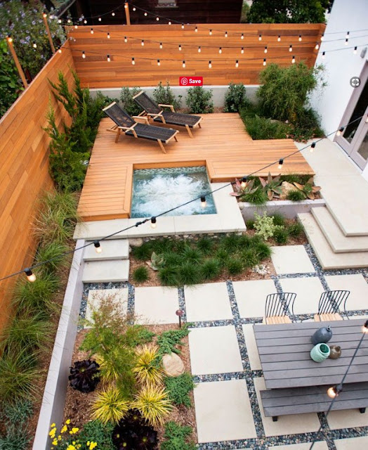 modern patio ideas with jacuzzi pool