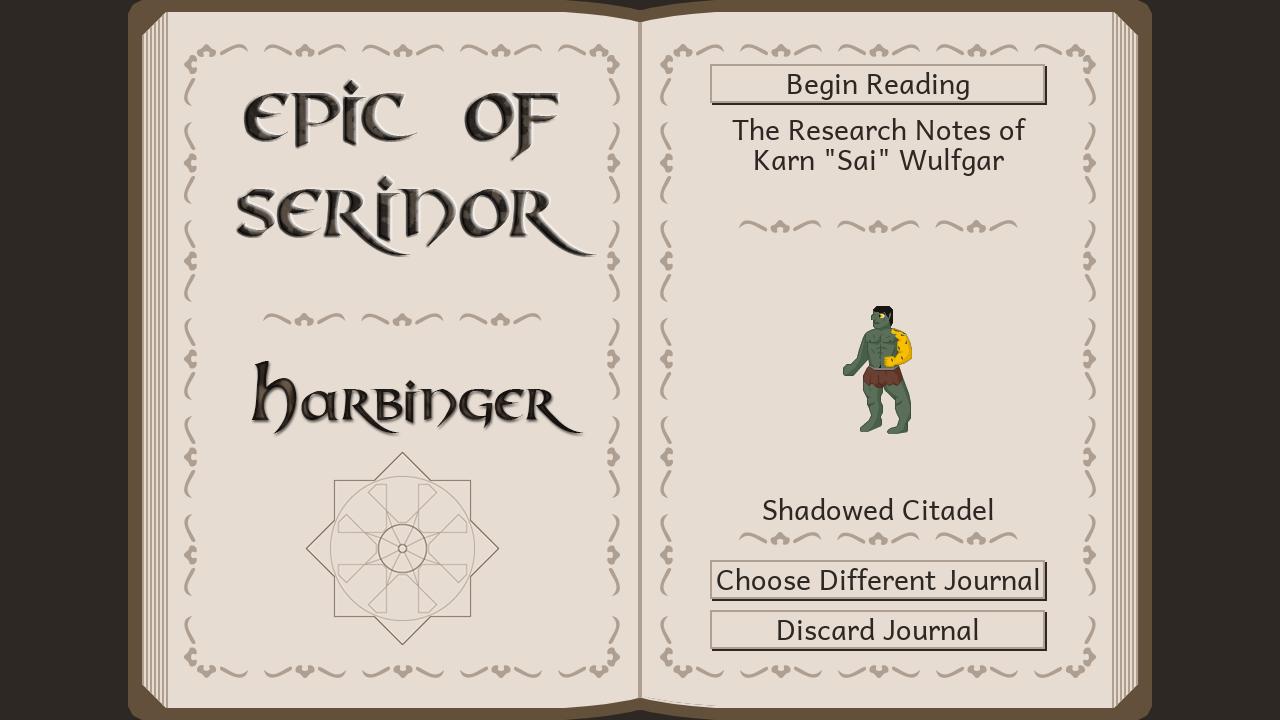 An image of Harbinger's title menu