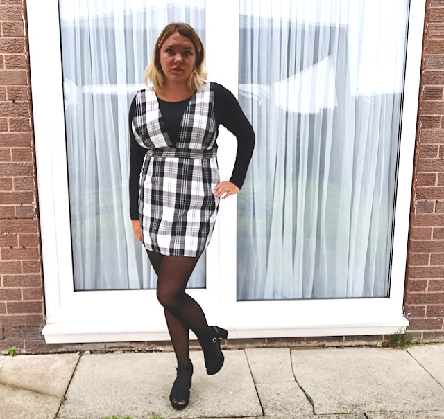 Black Check Wide Strap Pinafore