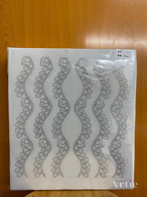 Sticker hotfix rhinestone DMC 6 jalur aplikasi tudung, bawal & fabrik pakaian motif gelang emas berwarna silver