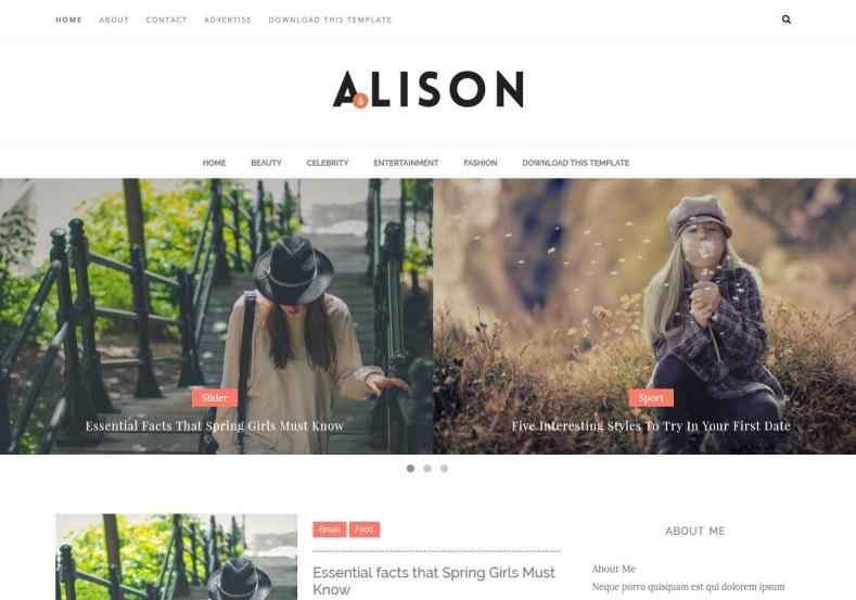 Alison free blogger templates 2020