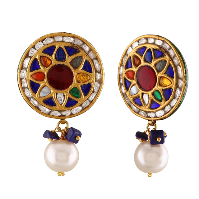 Multi-Color Gemstone & Jadau Earrings by Velvetcase.com