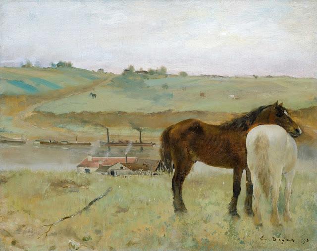 Эдгар Дега - Лошади на лугу (1871)