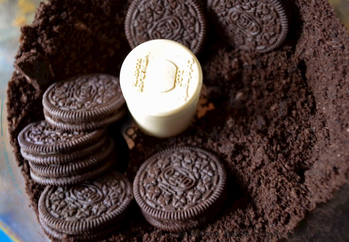 Oreo Cookies in a food processor.