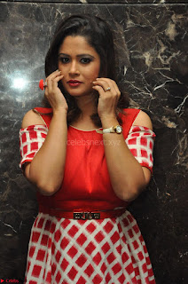 Shilpa Chakravarthy looks super cute in Red Frock style Dress 011.JPG