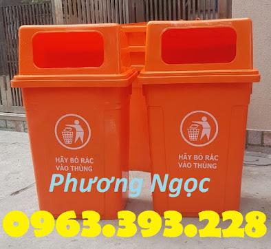 Thùng rác 90 Lít nắp hở nhựa HDPE, thùng rác cửa ngang, thùng rác công cộng TR90LNH2