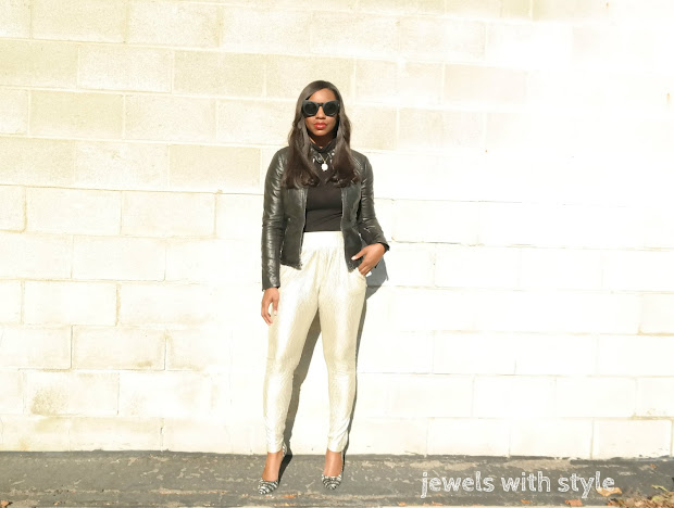 Holiday party outfit ideas, gold pants outfit, metallic pants outfit, comfortable holiday outfit, fancy pants, gold leggings, how to wear metallics, leather jacket outfit, jewels with style, columbus ohio wardrobe stylists, columbus ohio personal stylists, black fashion blogger, express leather jacket, black style blogger, no uv glasses
