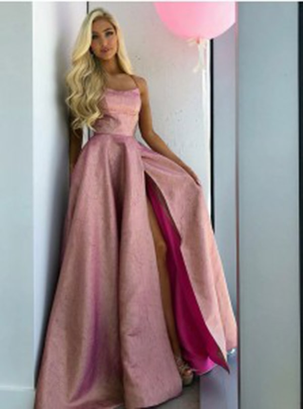 A-Line Spaghetti Straps Sweep Train Pink Satin Bridesmaid Dress with Split