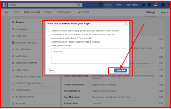 Make Facebook Page Private