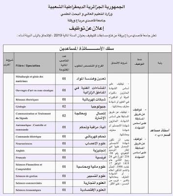 اعلان عن توظيف في جامعة قاصدي مرباح ورقلة -- جوان 2019