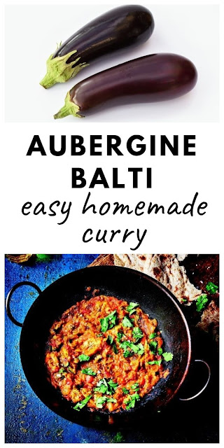 Easy Aubergine Balti - an easy homemade curry made with aubergine (eggplant), tomatoes and spices. #auberginebalti #auberginecurry #eggplantcurry #eggplantbalti #easybalitrecipe #vegancurry #veganbalti #vegetariancurry #vegetarianbalti #auberginerecipes #eggplantrecipes