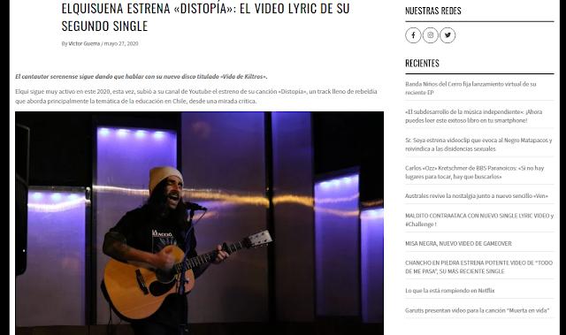 NUEVO SINGLE DISTOPÍA Y SU NOTA EN PORTAMENTO.CL