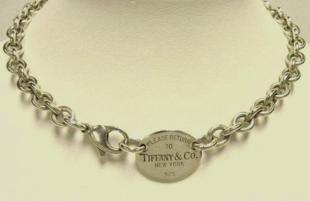 1797c2624 TIFFANY & CO 925 SILVER PLEASE RETURN TO TIFFANY & CO TAG ROLO LINK  NECKLACE 15