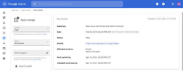 In addition to the Google Workspace Status Dashboard, you will be able to find Apps outage alerts in the Alert Center.