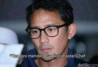 Meme Sandiaga Salahudin Uno Sedih Gagal jadi Cawapres di Pilpres 2019 - Tau gini mending gue ikut master chef