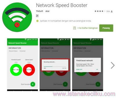 """Network Speed Booster telah diunduh jutaan kali oleh pengguna untuk meningkatkan kecepatan internet pada Android mereka. Aplikasi ini memiliki antarmuka pengguna yang cukup sederhana dan mudah di operasikan. Setelah Anda selesai menginstal aplikasi tersebut pada perangkat Anda, cukup tekan tombol """"Start"""" dan bersantailah, karena Network Speed Booster akan memberi Anda kecepatan internet yang lebih baik dari sebelumnya. Network Speed Booster bekerja dengan cara dia akan memutus hubungan koneksi Anda dengan koneksi jaringan saat ini dankemudian akan menghubungkannya kembali, dan kemudian akan memberikan Anda kekuatan sinyal yang lebih baik untuk perangkat android Anda."""