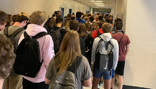 crowded hallway in Georgia school in student photo