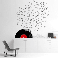 vinilo decorativo pared disco vinilo con notas musicales volando