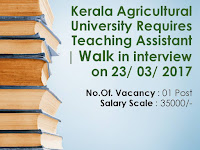 Kerala Agricultural University Requires Teaching Assistant